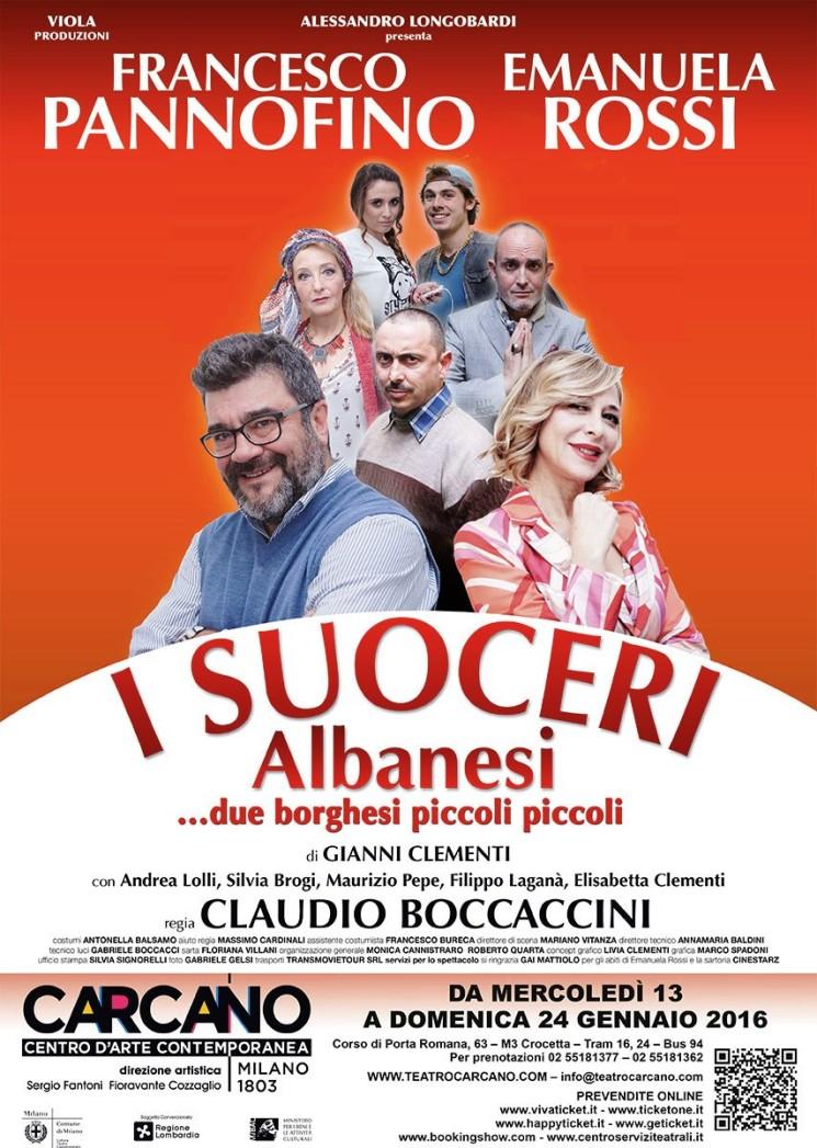 """AL TEATRO CARCANO DI MILANO """"I SUOCERI ALBANESI – DUE BORGHESI PICCOLI PICCOLI"""" DAL 13 AL 24 GENNAIO"""