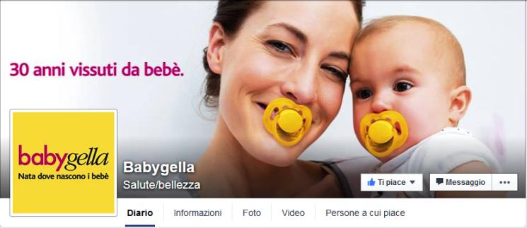 Online la pagina Facebook di Babygella