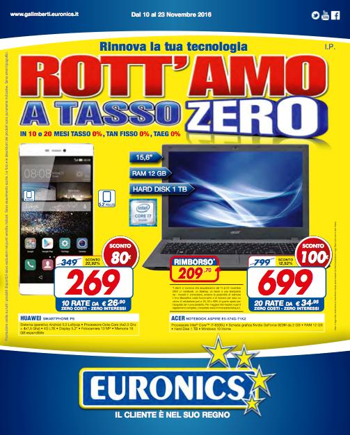 """""""Rott'amo a tasso zero"""", la campagna di Euronics con sconti e finanziamenti a tasso zero"""