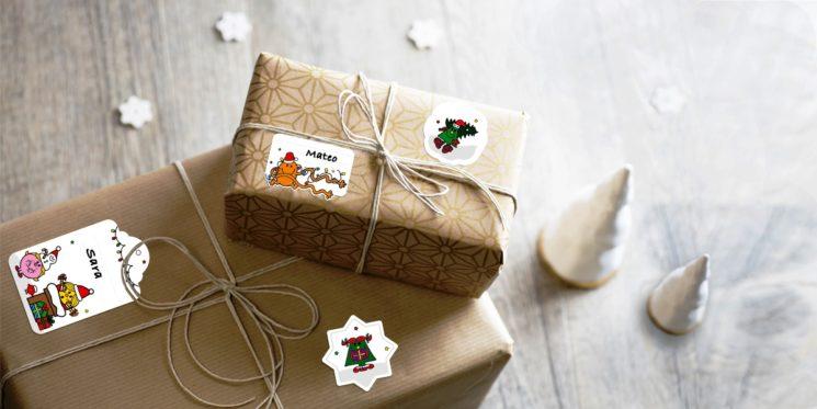 Le etichette Mr Men & Little Miss di Ludilabel per decorare i pacchetti di Natale