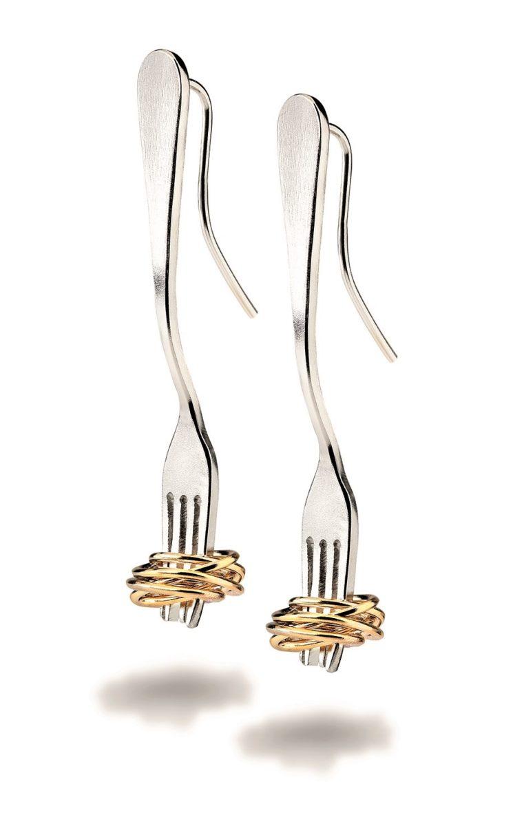 Orecchini FORCHETTA con spaghetti di futuroRemoto per la Festa della Mamma